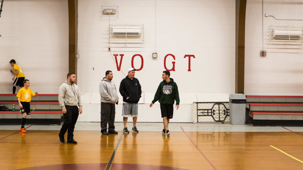 The gym at Vogt gets pretty busy during the winter months with practices and games.