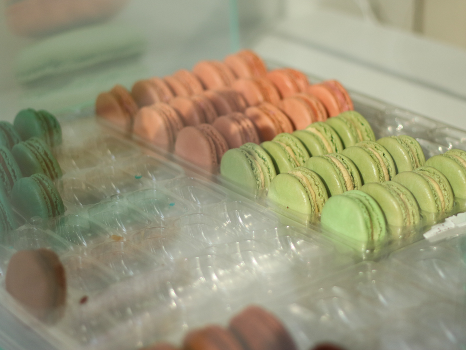 Macarons on display at Woops!.