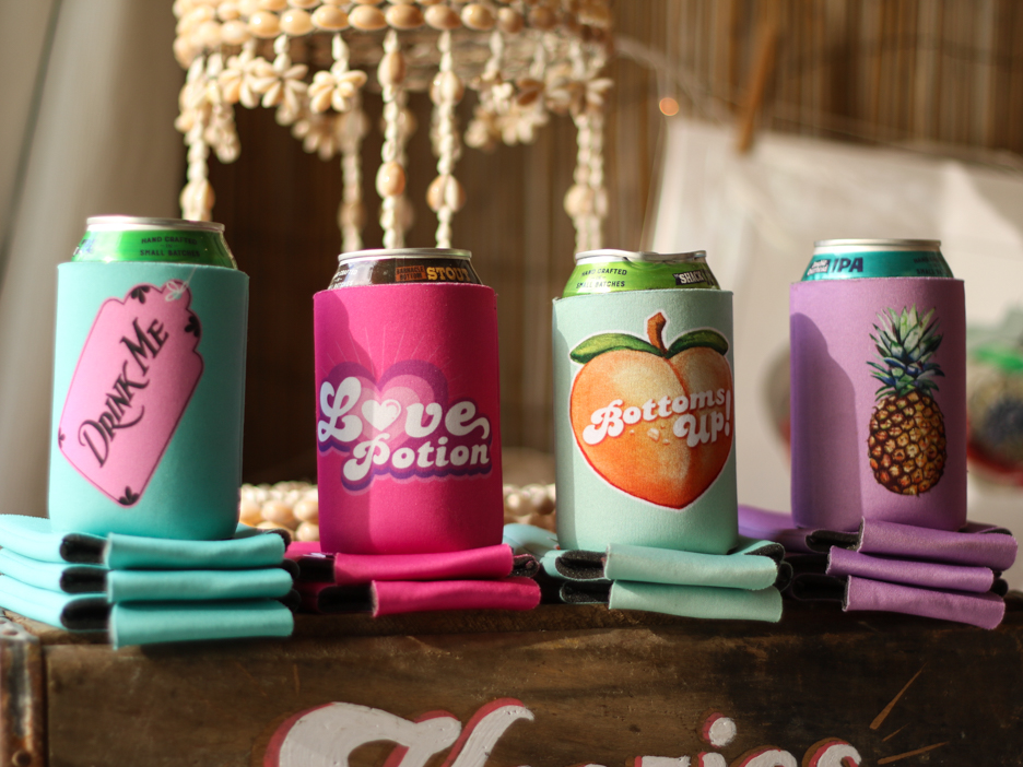 Beer koozies for sale at the Wintergarden