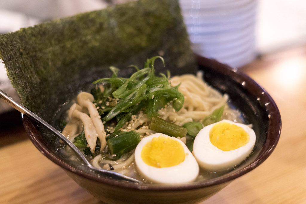 Miso ramen is a vegetarian option