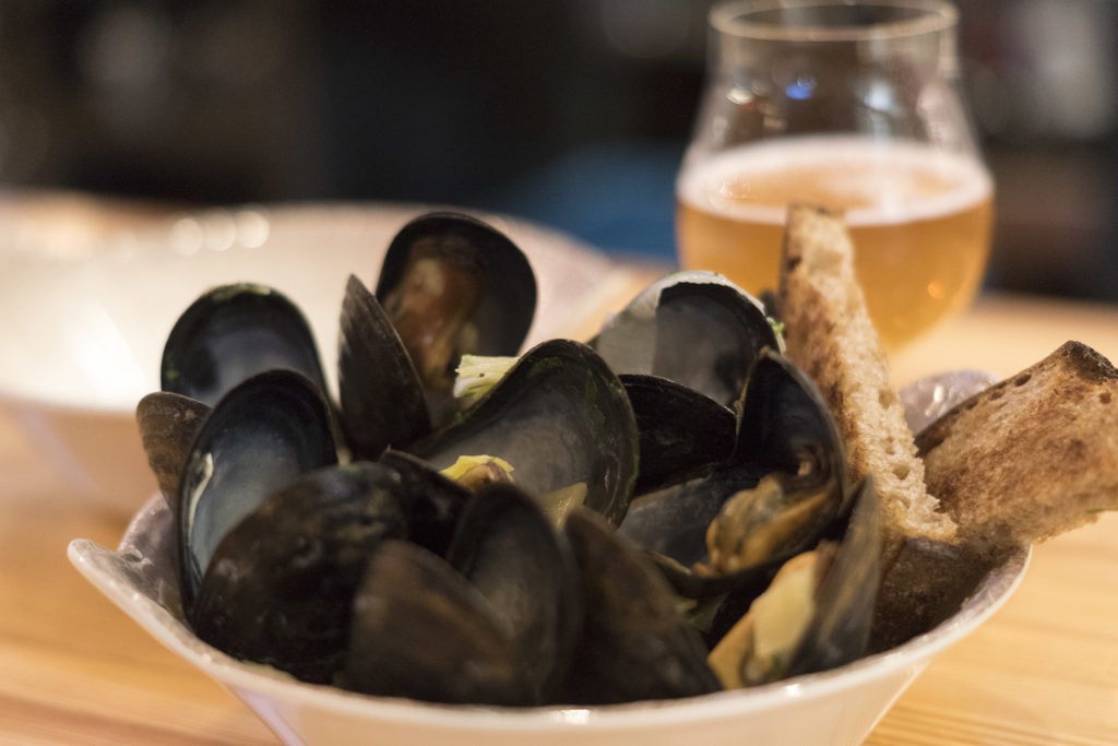 The new taproom serves mussels, always a good pairing with beer