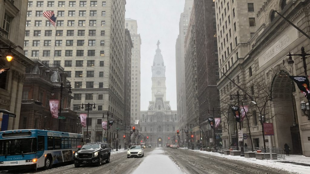 Philadelphia City Hall in the snow
