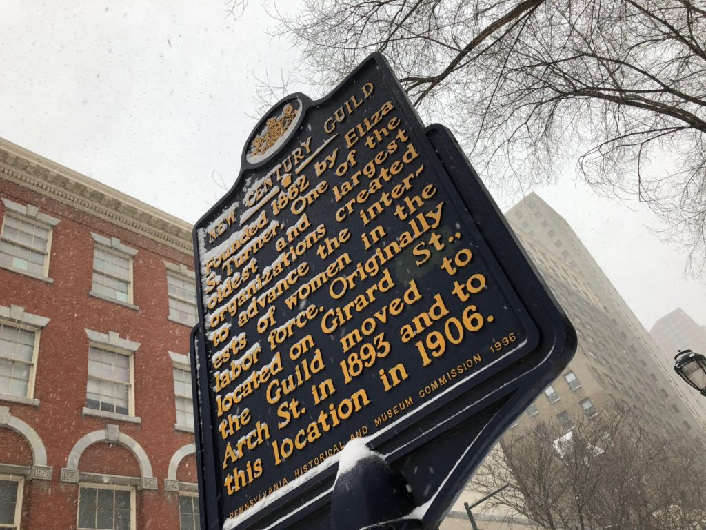 Historical marker in the snow