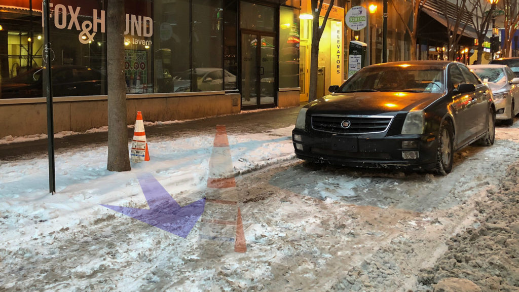 Whoever left that cone on the sidewalk needs a lesson in how to 'savsies'