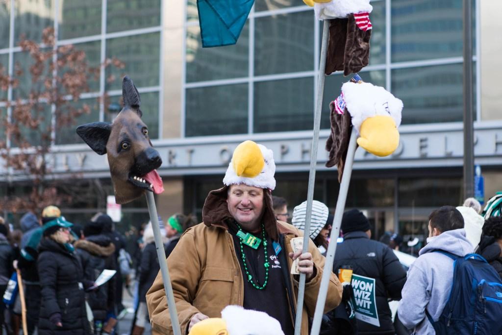 Dog masks and eagle hats were equally prevalent