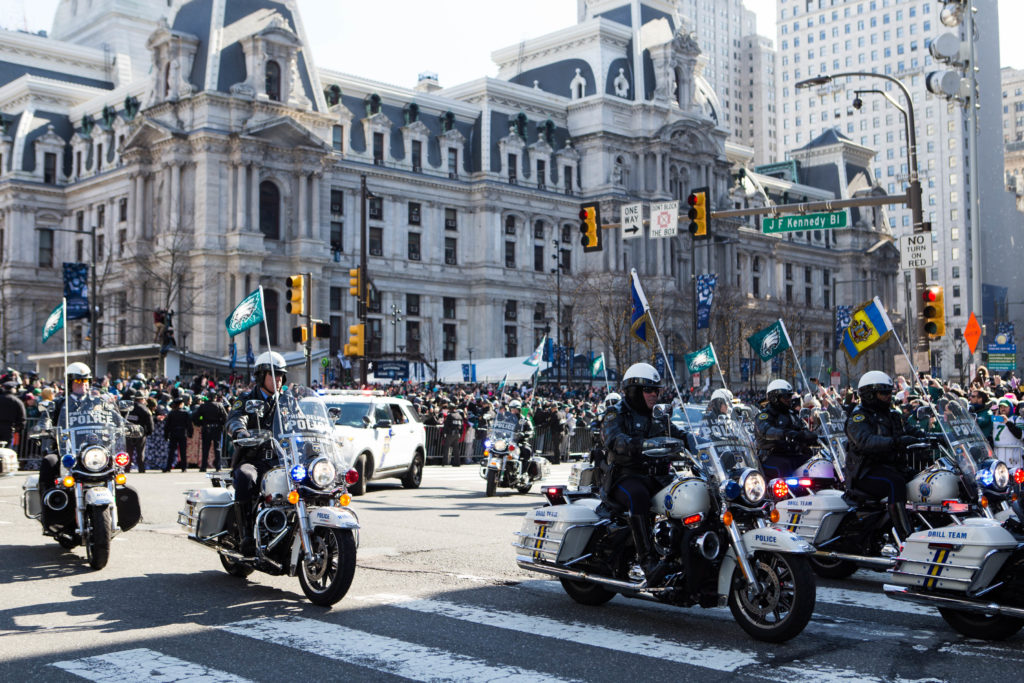 The Philadelphia Police kept the route clear