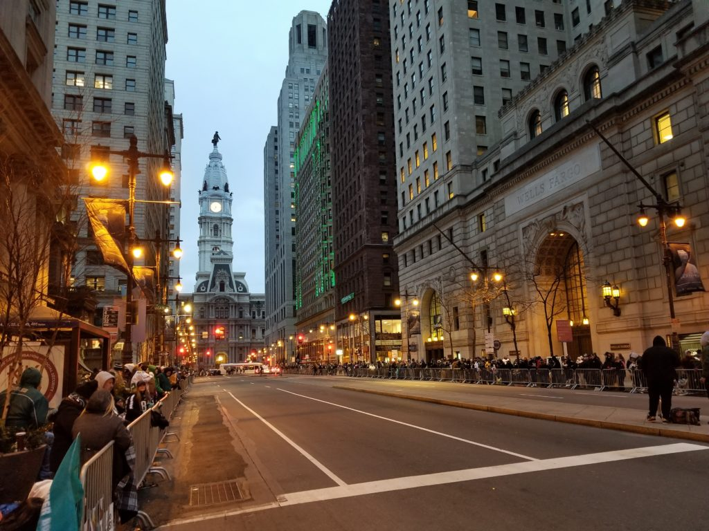 Crowds of spectators already lined Broad Street at 7 a.m.