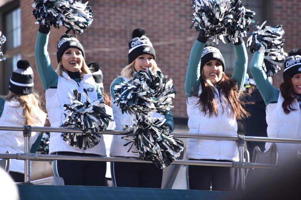 The cheerleaders weren't far behind