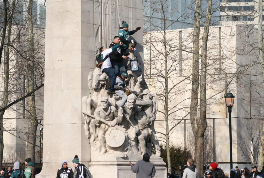 People climbed monuments