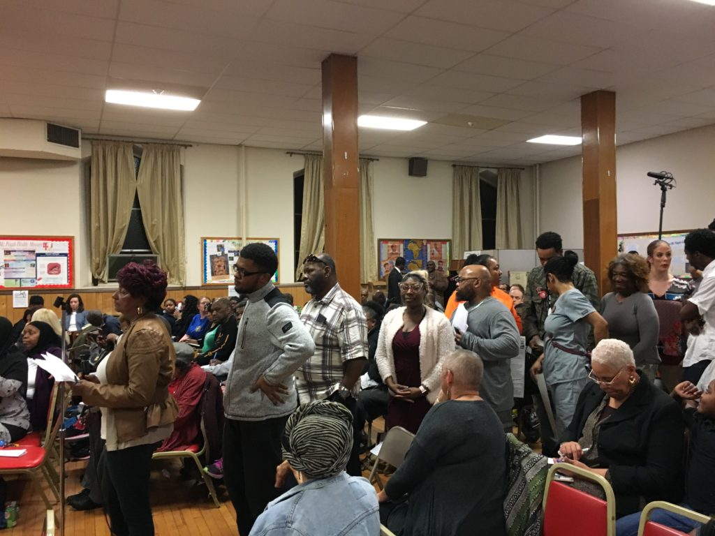 West Philly residents lined up to ask Krasner questions on Wednesday night.
