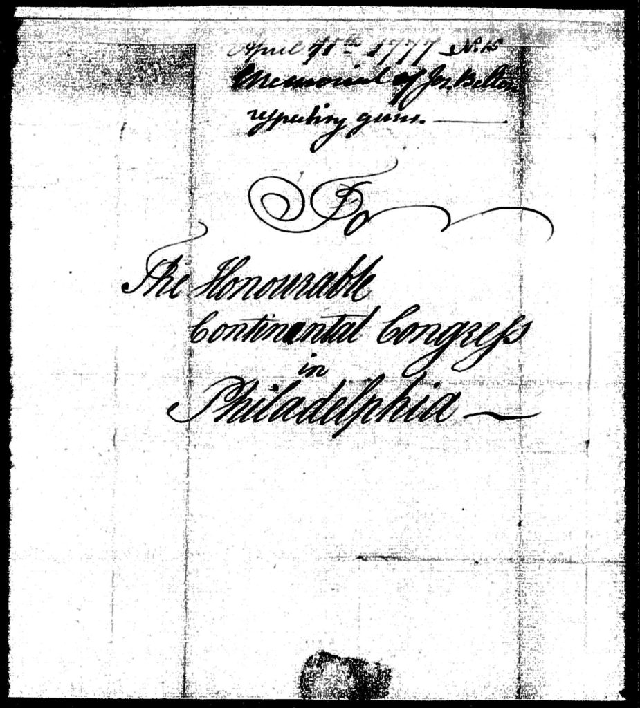 Cover page of Belton's 1977 letter to the Continental Congress