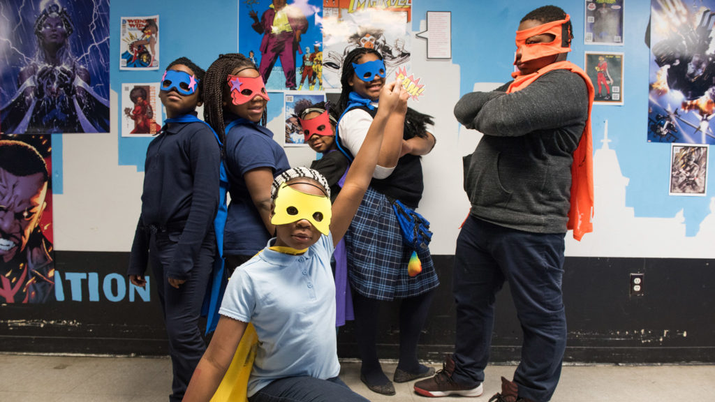 Capes and masks at Francis Myers Rec Center