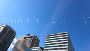 Bud Light's skywriting during the Eagles Super Bowl parade