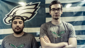 Fusion players Joseph 'Joemeister' Gramano and Gael 'Poko' Gouzerch show support for the Eagles