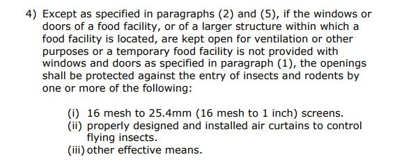 Section 46.922 (e)(4) of the Philadelphia Food Code