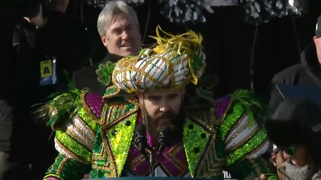 3672590e3c634f NSFW: Jason Kelce's epic Eagles Super Bowl parade speech - On top of Philly  news