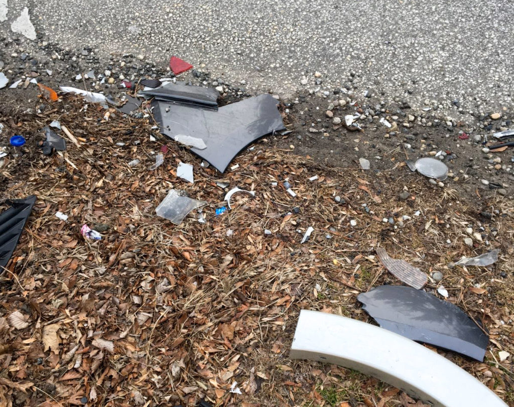 Debris at the scene of Sheila Modglin's accident