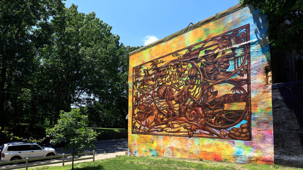 Mural Arts Philadelphia's Voa Nu, Pwisans Nu (Our Voice, Our Strength) by Felix St. Fort, Ernel Martinez and Parris Stancell