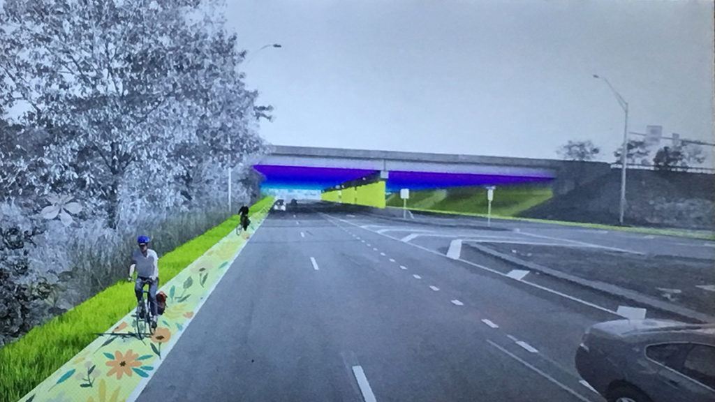 A rendering for a potential bike lane along Island Avenue