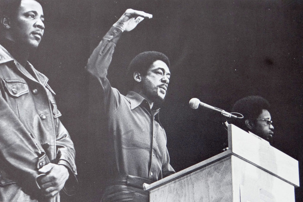 Bobby Seale at a rally in Michigan in 1971