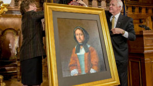 A portrait of Callowhill Penn was hung at the PA Governor's Office in 2015