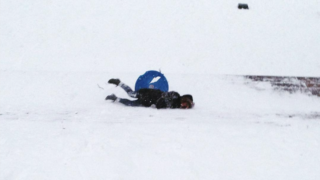 A sledding mishap on the PMA steps