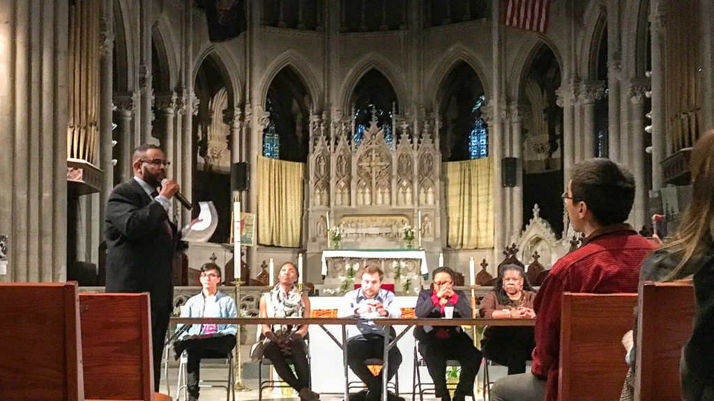 Councilman Curtis Jones Jr. speaks about the Good Cause Bill at North Philly's Church of the Advocate