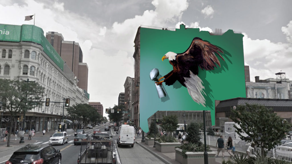 A concept rendering (not the final location) of the forthcoming mural