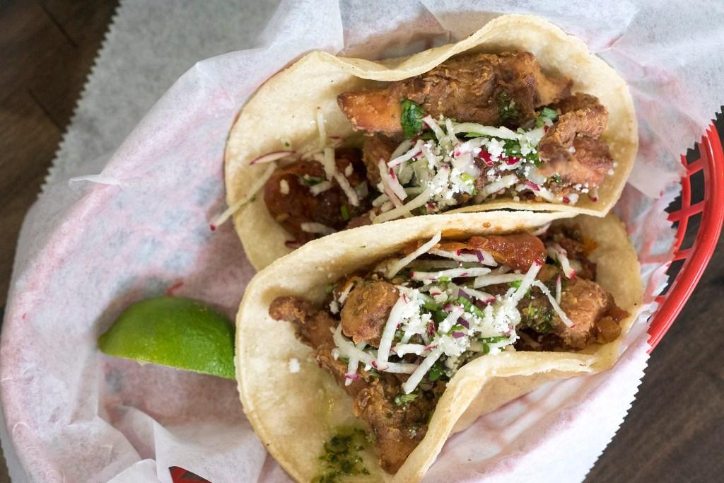 Kraken (fried octopus) tacos at Heffe