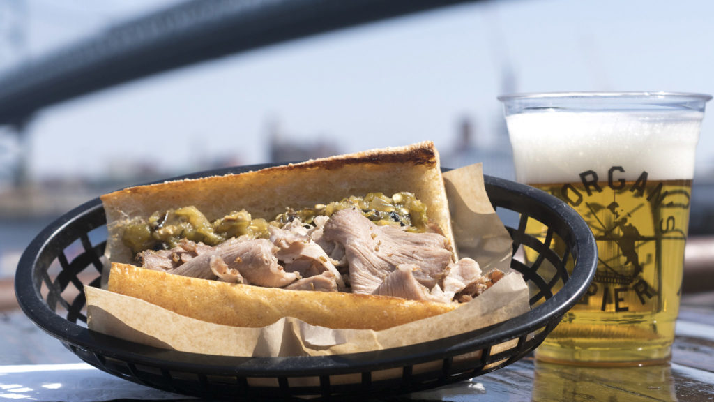 Roast pork al fresco at Morgan's Pier in 2018