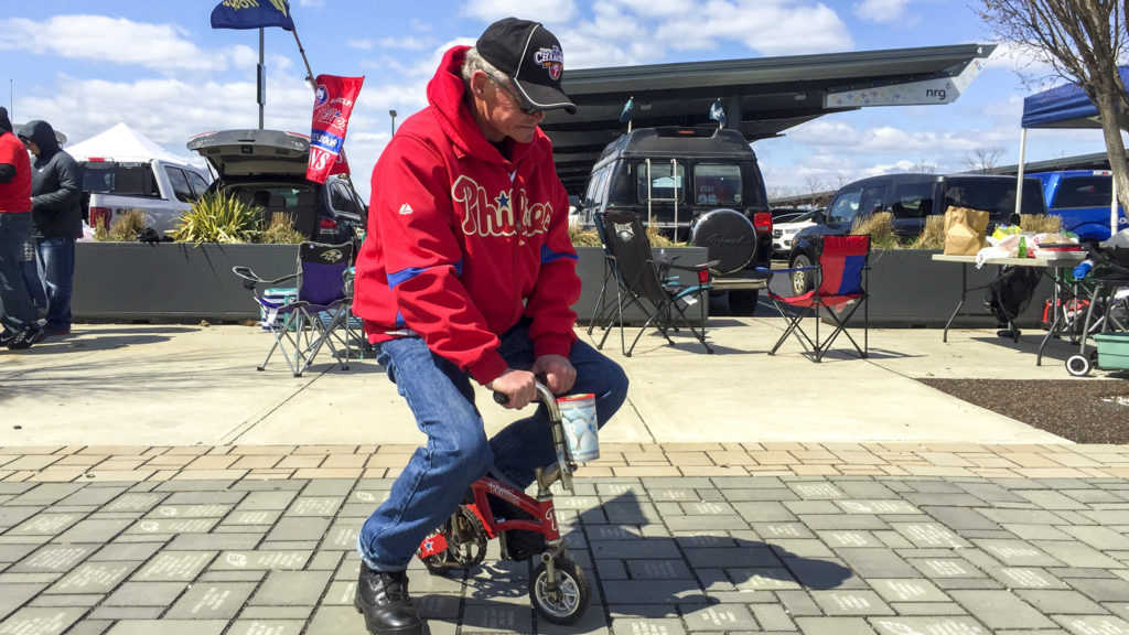'Bike Man' at the Phillies 2018 home opener