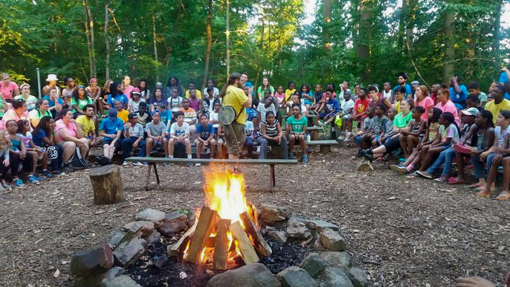 A bonfire at College Settlement's summer camp in Horsham