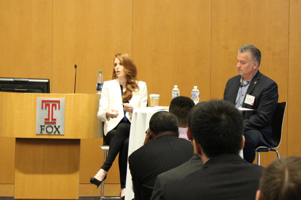 Lara Toscami Weems of Sixers owner Harris Blitzer explains why the company got into esports at Temple's panel