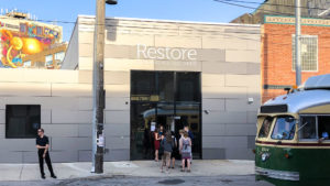 Restore's entrance on Frankford Avenue