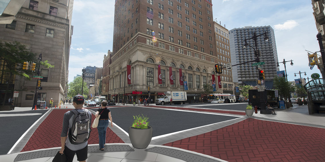 A rendering of the upgraded crosswalks