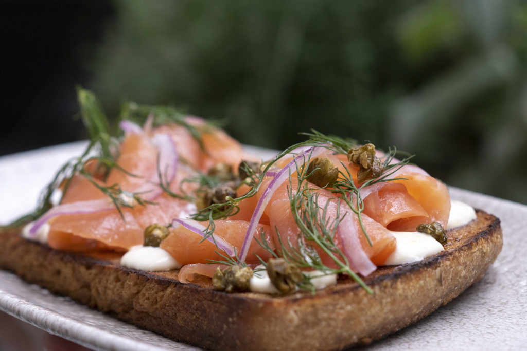 Smoked salmon tartine at Harper's Garden