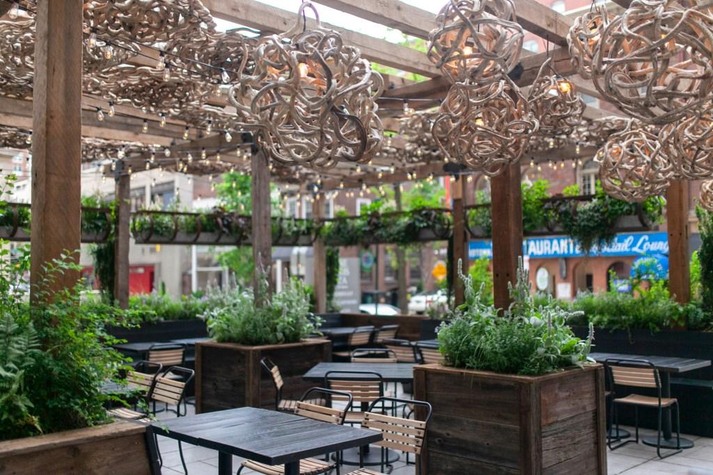 Harper's Garden's outdoor seating area in Center City