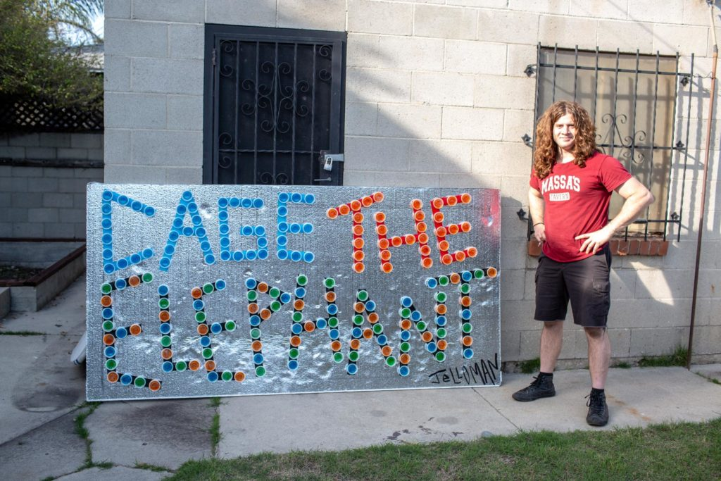 One of Vile's jello murals, celebrating the band Cage the Elephant.