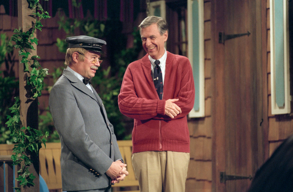 David Newell (left) and Fred Rogers (right) from the show Mr. Rogers Neighborhood in the film, WON'T YOU BE MY NEIGHBOR?, a Focus Features release