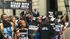 People rallied in support of Meek Mill outside a Philly courtroom Monday afternoon