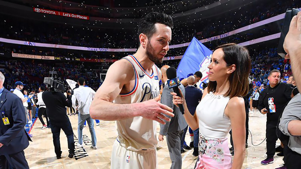 Sullivan with Sixers guard JJ Reddick in April 2018