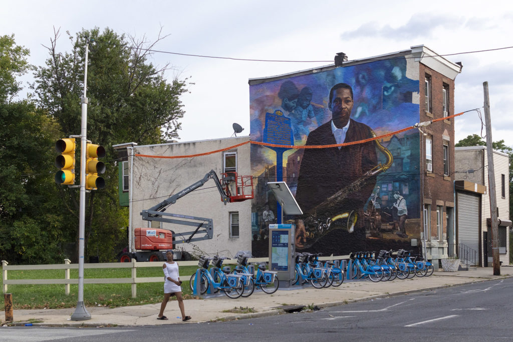 The updated John Coltrane mural at 29th and Diamond