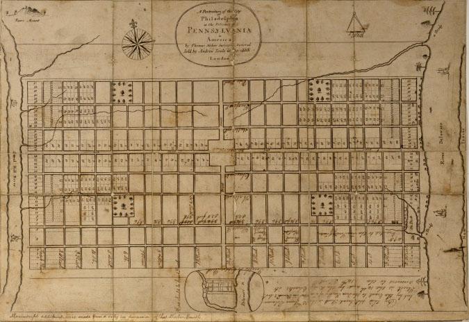 1683 – Original Plan for Philadelphia by Thomas Holme