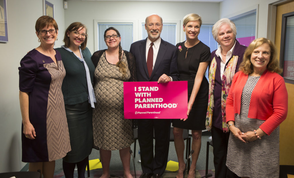 Tom Wolf with Planned Parenthood's Cecile Richards at an April 2017 event