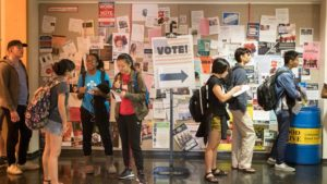 Students wait to vote in November 2016 at Carnegie Mellon University in Pittsburgh.