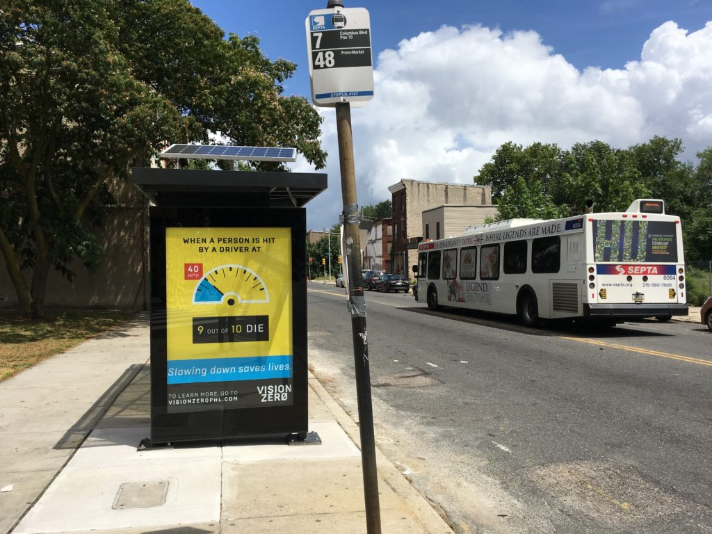 Philly's first ever solar-powered bus shelter at 29th and Ridge