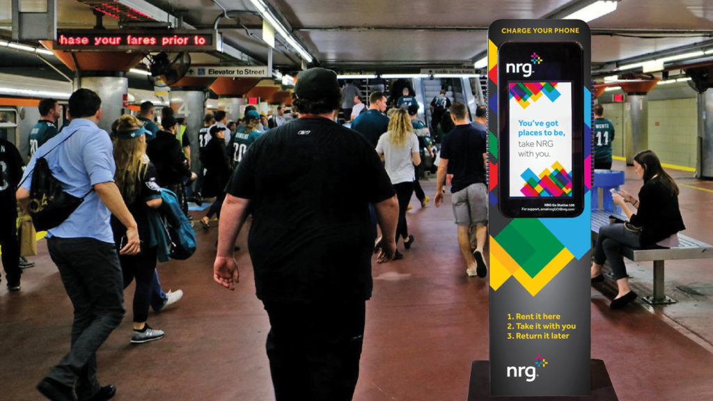 Portable chargers will be available to rent at the renamed NRG station.