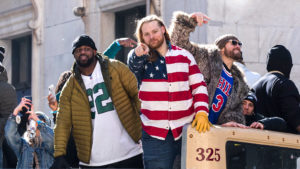 Beau Allen at the Eagles Super Bowl victory parade, with Fletcher Cox and Chris Long