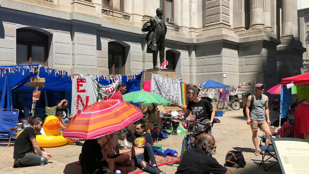 Activists at the Occupy ICE encampment outside City Hall have been pushing for this move