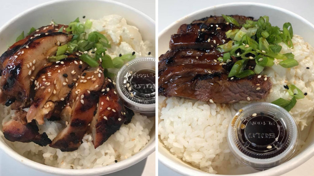 Chicken and steak teriyaki bowls